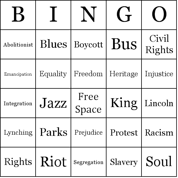 Printable black history bingo games.