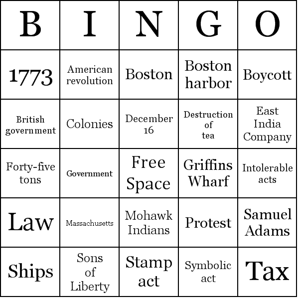 Boston Tea Party Bingo Cards
