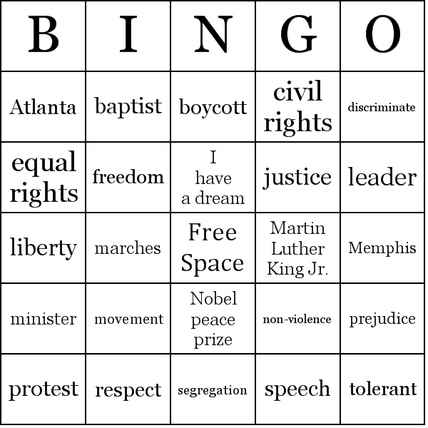 Martin Luther King Jr. Bingo Cards - Word List