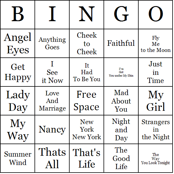 photo regarding Musical Bingo Cards Printable identify Frank Sinatra Music Bingo Playing cards