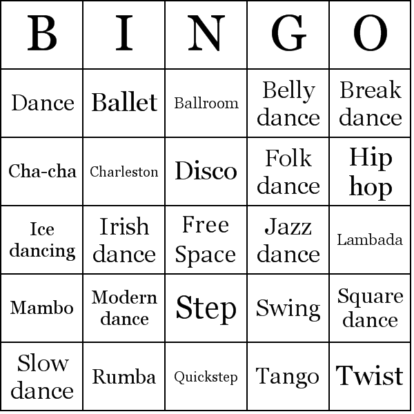 picture about Musical Bingo Cards Printable identify Patterns of Dances Bingo Playing cards