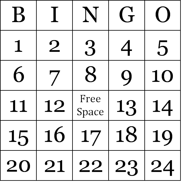 Numbers 1 75 Bingo Cards