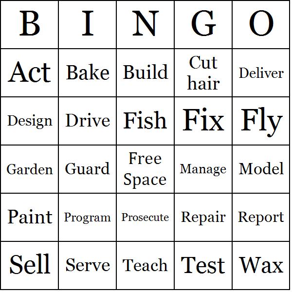 Job Actions Bingo Cards