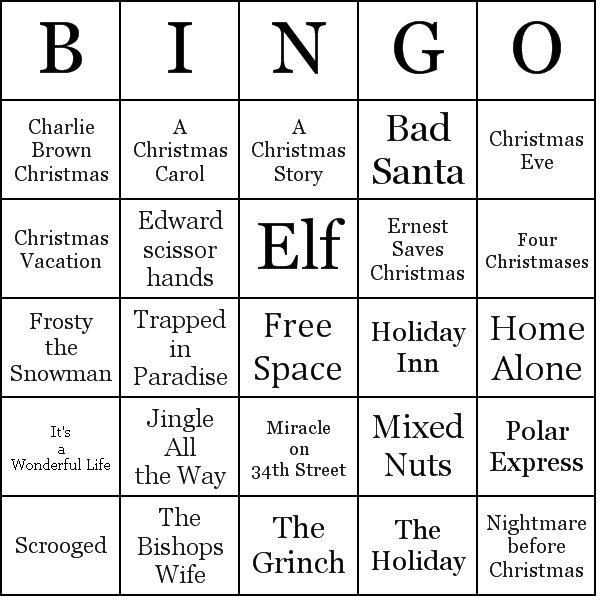 photograph regarding Holiday Bingo Printable named Xmas Flicks Bingo Playing cards