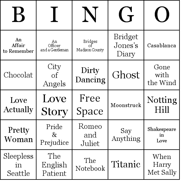 romantic movies bingo cards