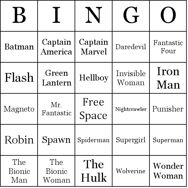 Superheroes Bingo Cards