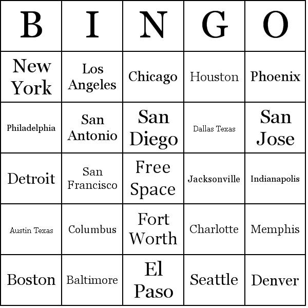 Make Your Own Bingo Card: List Of U.S Cities By Population Bingo Cards