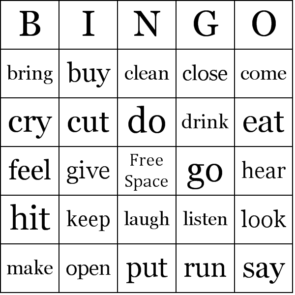 action verbs bingo cards
