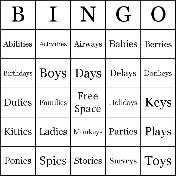 plurals of words ending in 39 y 39 bingo card. Black Bedroom Furniture Sets. Home Design Ideas