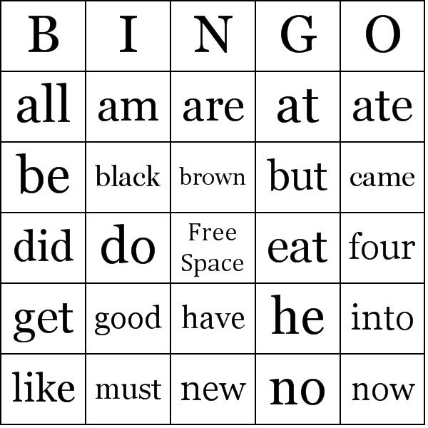 Sight Words - Primer Bingo Cards - Word List