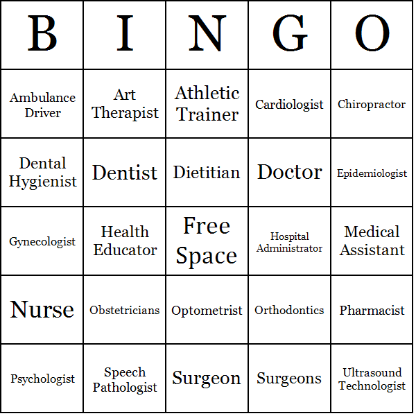 careers in medicine bingo cards, Human Body