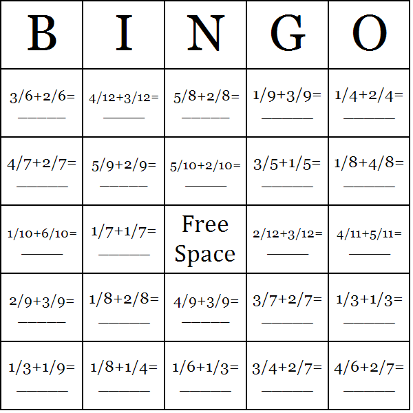 Adding Fractions Bingo Cards - Word List