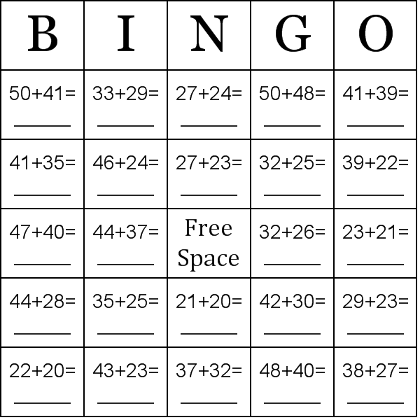 Addition using numbers between 20-50 Bingo Cards - Word List
