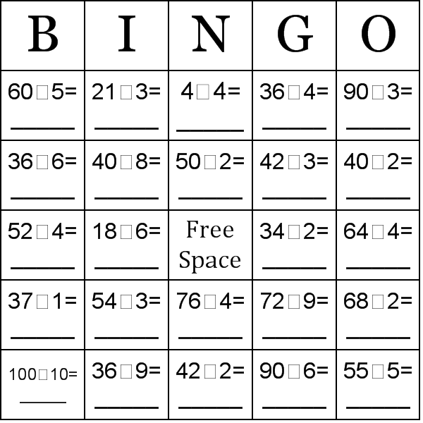 photograph relating to Math Bingo Printable titled Department-Uncomplicated Section Bingo Playing cards