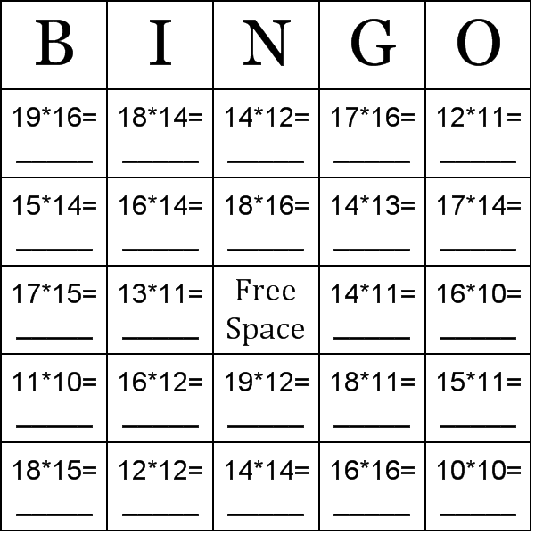 photo relating to Multiplication Bingo Printable called Multiplication making use of quantities involving 10-20 Bingo Playing cards