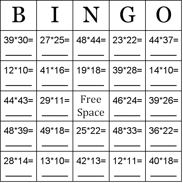 Multiplication using numbers between 10 50 bingo cards word list