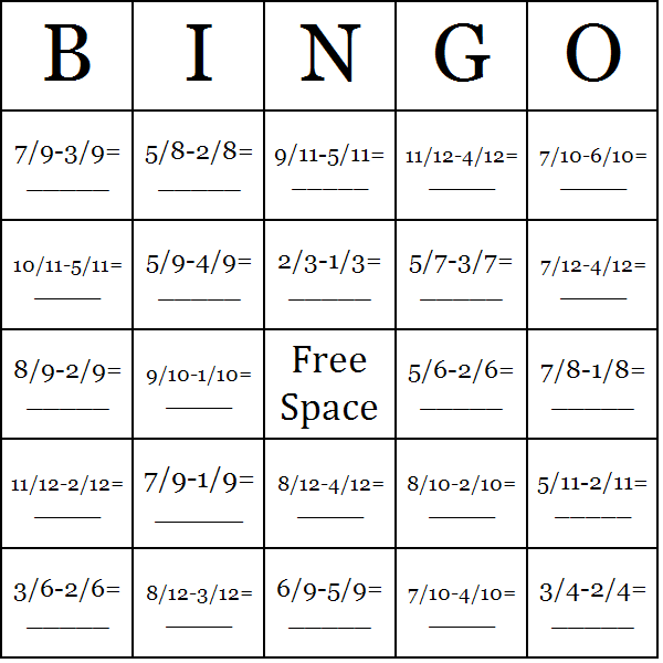 image regarding Math Bingo Printable titled Subtracting Fractions Bingo Playing cards