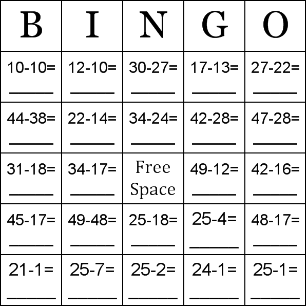 math worksheet : using numbers between 10 50 bingo cards : Fun Subtraction Worksheets