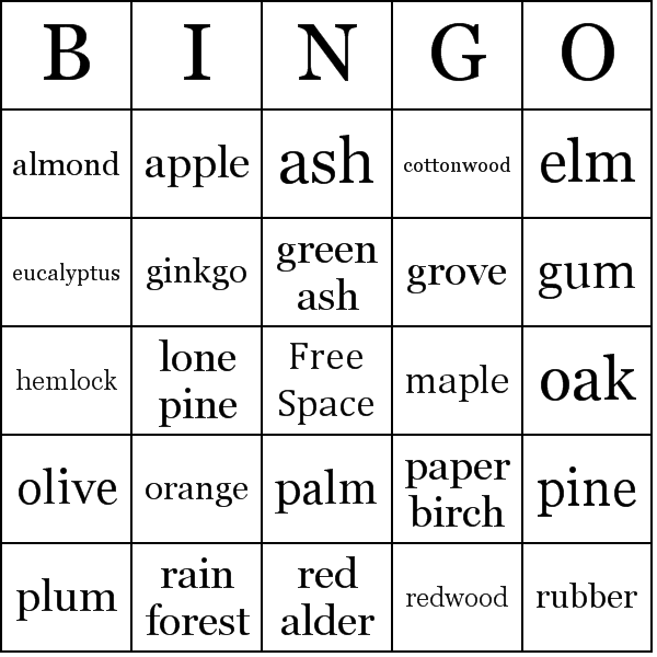 Type of trees bingo cards location bingo card maxwellsz