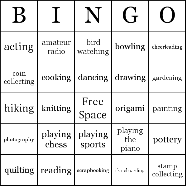 Hobbies Bingo Cards - Word List