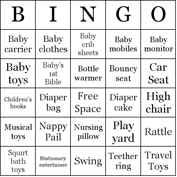pics photos words for baby shower bingo cards