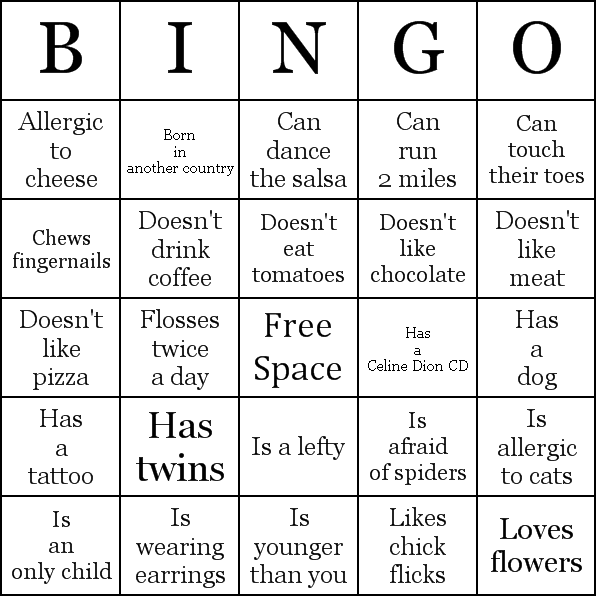 Each participant should receive a bingo card, walk around the room and