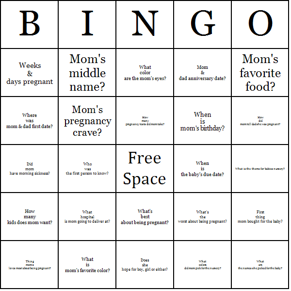 Mommy Trivia Bingo Cards