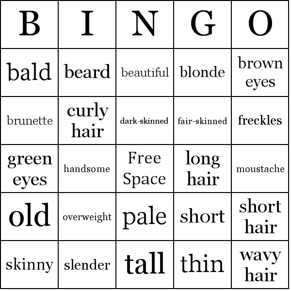 Physical Appearance Bingo Cards