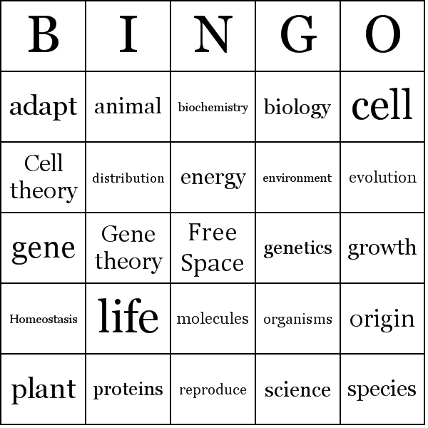 Location bingo card