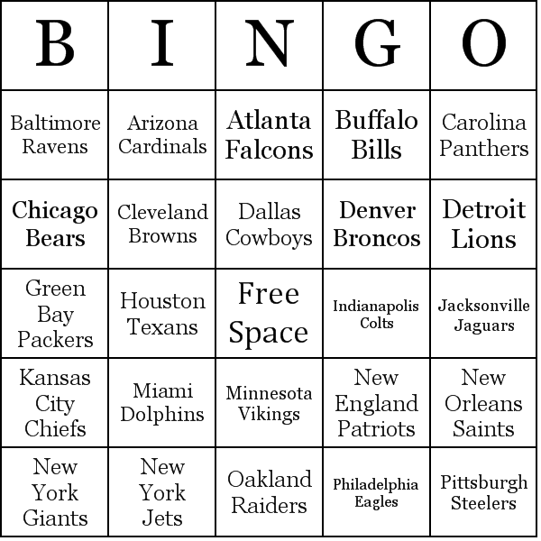 Nfl Teams Bingo Cards