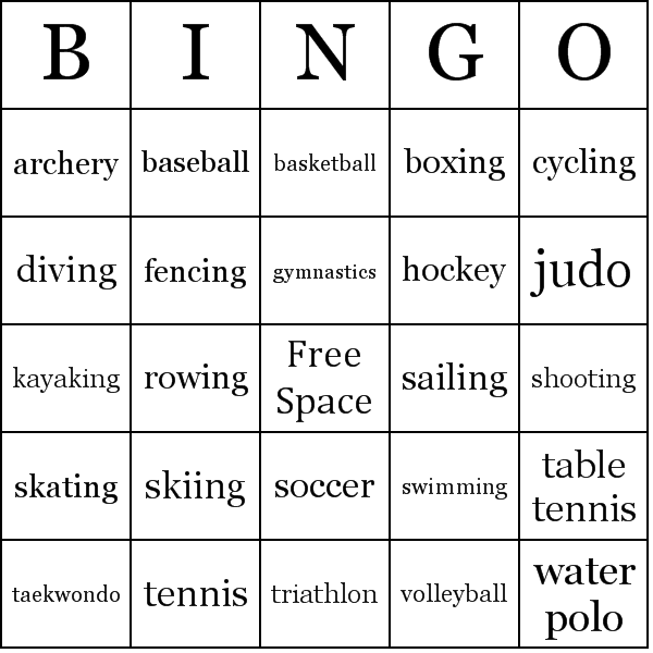 olympic sports bingo cards. Black Bedroom Furniture Sets. Home Design Ideas