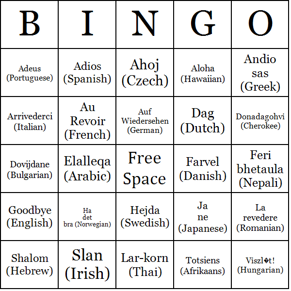 Goodbye bingo cards How to say goodbye in romanian