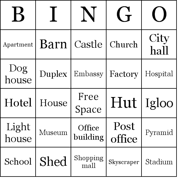 List of building types bingo cards for Types of houses to build