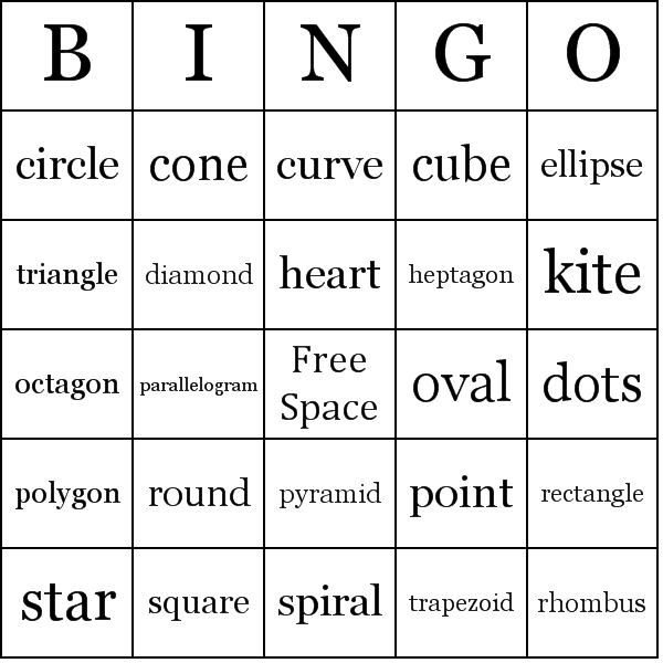 Printable Shape Bingo Cards