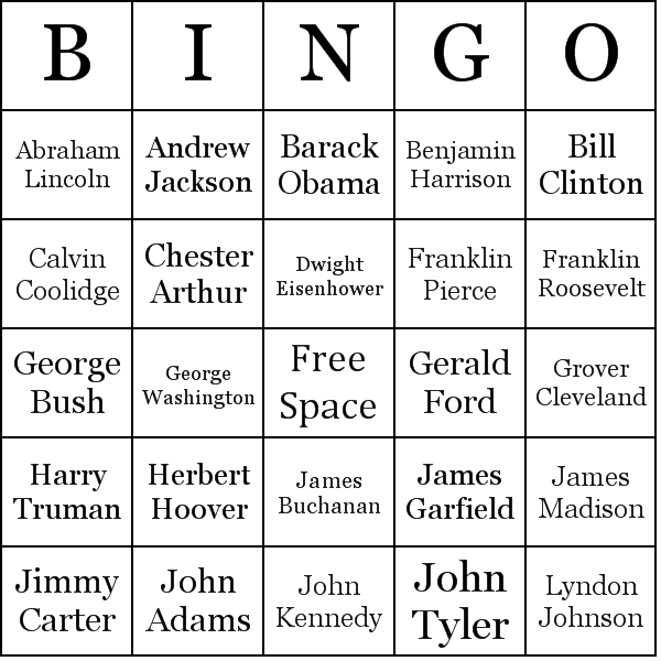 US Presidents Bingo Cards Word List