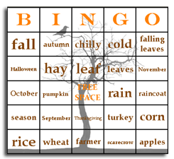 Season bingo cards – autumn