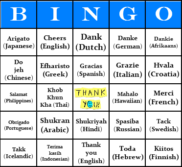 thank you bingo cards